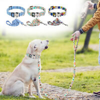 Colorful Personalised Dog Collar and Lead Nylon Collar Pet ID Name Tag Engraved