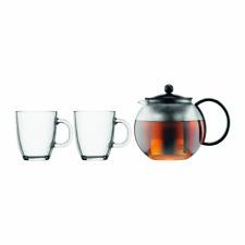 Bodum Assam Glass Loose Tea Infuser Press Set Maker Steel Filter 1L 2 Mugs 0.35L