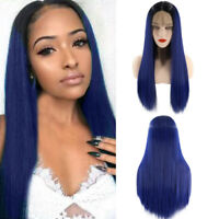 Fashion Women Lace Front Wig Blue Ombre Long Straight Synthetic Hair Cosplay Wig