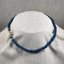 Beautiful apatite rondelle necklace with 18K gold beads and 24k S-clap