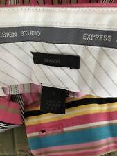 Striped Capris sz 4 Pink Cotton Blend Express Design Studios Zip and hook eye
