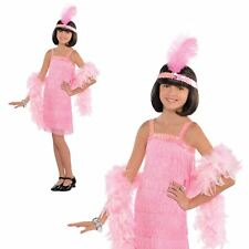 Child Pink Flapper Costume Girls 1920s Gatsby Fancy Dress Outfit Age 8 - 10 Years