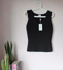 ARMANI charcoal ribbed chiffon/cotton vest size 42 (M) BNWT