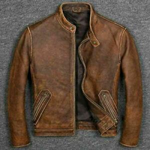 Mens Antique Vintage Distressed Retro Jungle Cafe Racer Leather Jacket Motorcycle Real Leather Biker Jacket