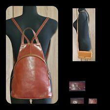 3 italienische Vintage Taschen: Lederrucksack, Umhängetasche und Geldbörse.