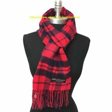 New 100% CASHMERE SCARF Scotland SOFT Wool Wrap Plaid Red / Navy blue UNISEX