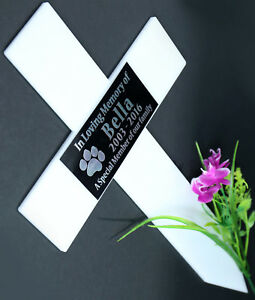 CROSS GRAVE MARKER LARGE SIZE MEMORIAL WHITE ACRYLIC ENGRAVED PLAQUE FUNERAL