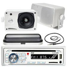 "3.5"" Marine 200W Box Speakers, Pyle Bluetooth USB SD Radio, Antenna, Radio Cover"
