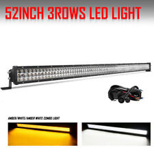 52 INCH 3825W 10D Tri row COMBO LED LIGHT BAR Dual Color Driving Fog Lamp Autofe