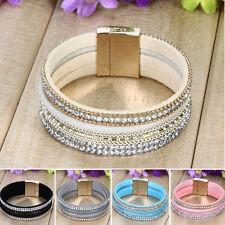 Stylish Chic Velvet Leather Crystal Wristband Magnetic Cuff Wrap Bracelet Bangle