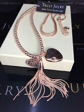 Luxurious Long Rose Gold Necklace With Multiple Heart & Tassel Pendants