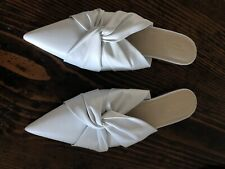 scanlan theodore Pointy White Leather Slides Size 40 Brand New