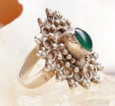 Silberring 63 Verspielt Achat Grün Floral Silber Ring 2,6 x 2,3 cm Groß Kugeln