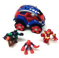 MARVEL COMICS SUPERHERO SQUAD Spiderman car toy & Ironman & Goblin figures  set