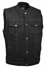 Men's Motorcycle Snap Front Denim SOA Club Style Vest w/ Gun Pocket