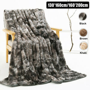 Faux Fur Blanket  Fluffy Bed SoftSofa Throw Large Tie-dye Long Shaggy  a