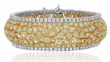 LARGE 44.21CT WHITE & FANCY YELLOW DIAMOND 18KT TWO TONE GOLD 3D TENNIS BRACELET