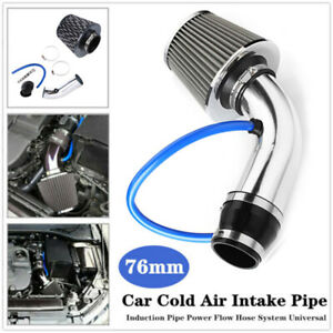 Silver Cold Air Intake Filter Induction Kit Pipe Power Flow Hose System Car Auto