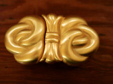 Vintage 80s Paquette Satin Matte Gold Toned Metal Swirl Knot Chunky Belt Buckle