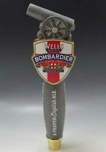 WELLS BOMBARDIER BREWING LAGER BEER TAP HANDLE VINTAGE ADVERTISEMENT