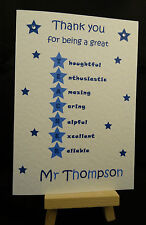 Handmade Personalised Thank You For Being A Great Teacher Card, Nursery, Helper