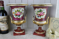 PAIR french empire medici Vases Urns floral decor lion satyr handles 1920