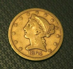 RARE 1864-S Gold $5 United States Liberty Head NO MOTTO Half Eagle Coin