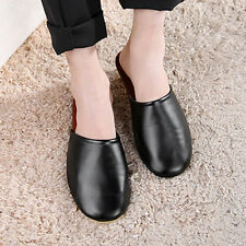 Mens Luxury Indoor/Outdoor Flats Cow Leather Closed Toes House Slippers Shoes
