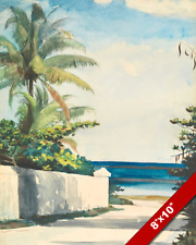 BAHAMAS ROAD IN NASSAU LANDSCAPE WINSLOW HOMER PAINTING REAL CANVAS ART PRINT