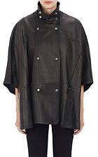 Genuine Lambskin Leather Cape Poncho Jacket Coat Unlined Women Panelled Top