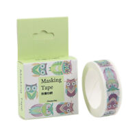 15mm x 10M Animal Print Washi Masking tape Kitty Owl Squirrel Fish Cat EW