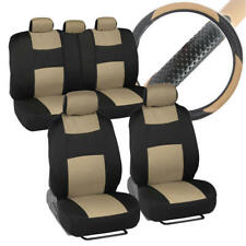 Front & Rear Polyester Car Seat Covers + PU Leather Steering Wheel Cover Beige