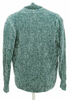 Denim & Co. Women's Sweater Sz S Chenille Cardigan Teal Blue A371644
