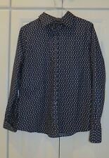 LAND'S END WOMEN'S BUTTON DOWN LS CAREER BLOUSE NO IRON NAVY & PINK SZ 6 NWOT