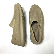 Crocs SANTA CRUZ 2 LUXE 202056 Mens 7 M Khaki Canvas Slip On Deck Boat Loafers
