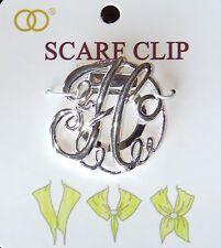 Nwt Women'S Silver Letter 'H' Monogram Fashion Scarf Ring/Clip/Slider/Holder