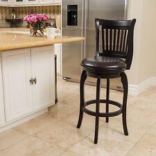 Traditional Design Espresso Leather Swivel Barstool