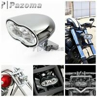 Chrome Double Oval Wave Twin Headlight White Lens For Custom Motorcycle Car