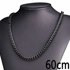 Black Stainless Steel Necklace Classic Braided Wheat Link 6Mm Mens Chain