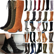Women Over The Knee Boots Long Knee High Stretch Boots Low Heel Block Shoes