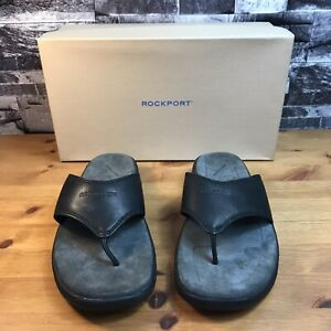 Men's ROCKPORT Leather Clear View Black Flip Flops Sandals MW478W UK8 w/ Box