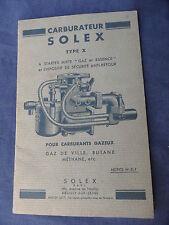 Notice CARBURATEUR SOLEX TYPE X POUR CARBURANT GAZEUX