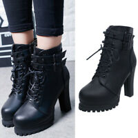 Women's Round Head PU Leather Lace Up Ankle Boots High Heel Army Combat Shoes