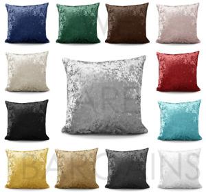 "Crushed Velvet Cushion FILLED Luxury Plush Plain Soft 17"" 22'' Cushions Cover"