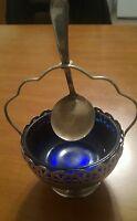 Envase Antiguo En Vidrio Azul, Con Cuchara En Plata Chapado, Silver Plated