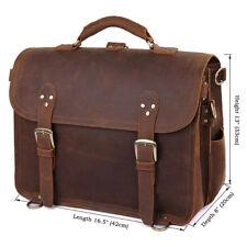 """J.M.D  Mens Briefcase Crazy Horse Leather Business Laptop 16.5"""" Handbag Brown"""