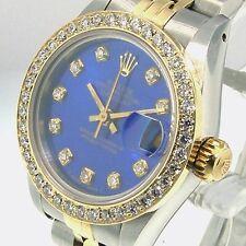 ROLEX DATEJUST 18K YELLOW GOLD STEEL JUBILEE LADIES BLUE DIAL DIAMOND BEZEL