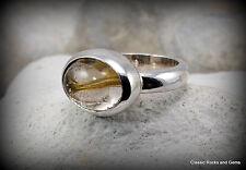 Handmade 925 Silver Ring with Rutile Quartz Edelsteinring mit Rutilquarz Nr.15