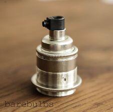 Vintage Nickel  threaded E27/ES/Screw pendant bulb lamp holder   light fitting