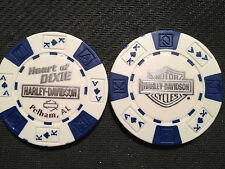 "Harley Davidson Poker Chip (White & Blue SILVER) ""Heart of Dixie"" Pelham, AL"